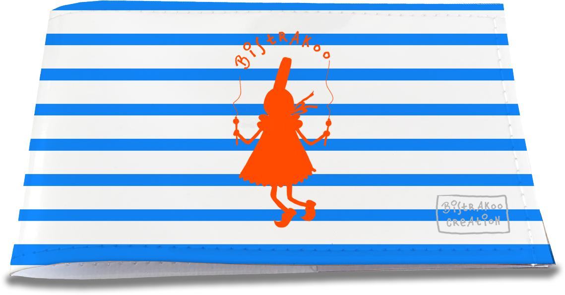 Porte-chéquier restaurant pour femme motif Bigoudène orange marinière bleue 2011