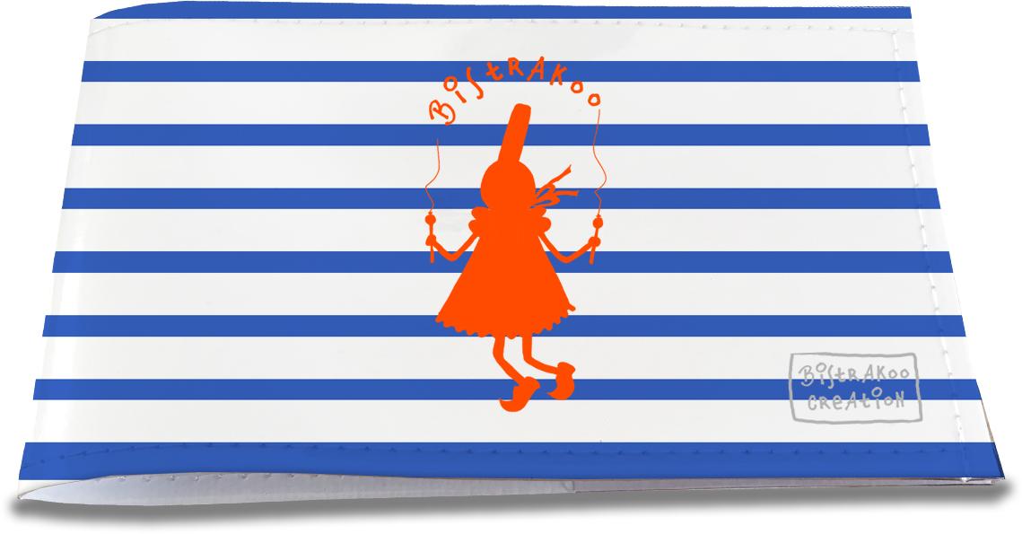 Porte-chéquier restaurant pour femme motif Bigoudène orange marinière bleue 2012