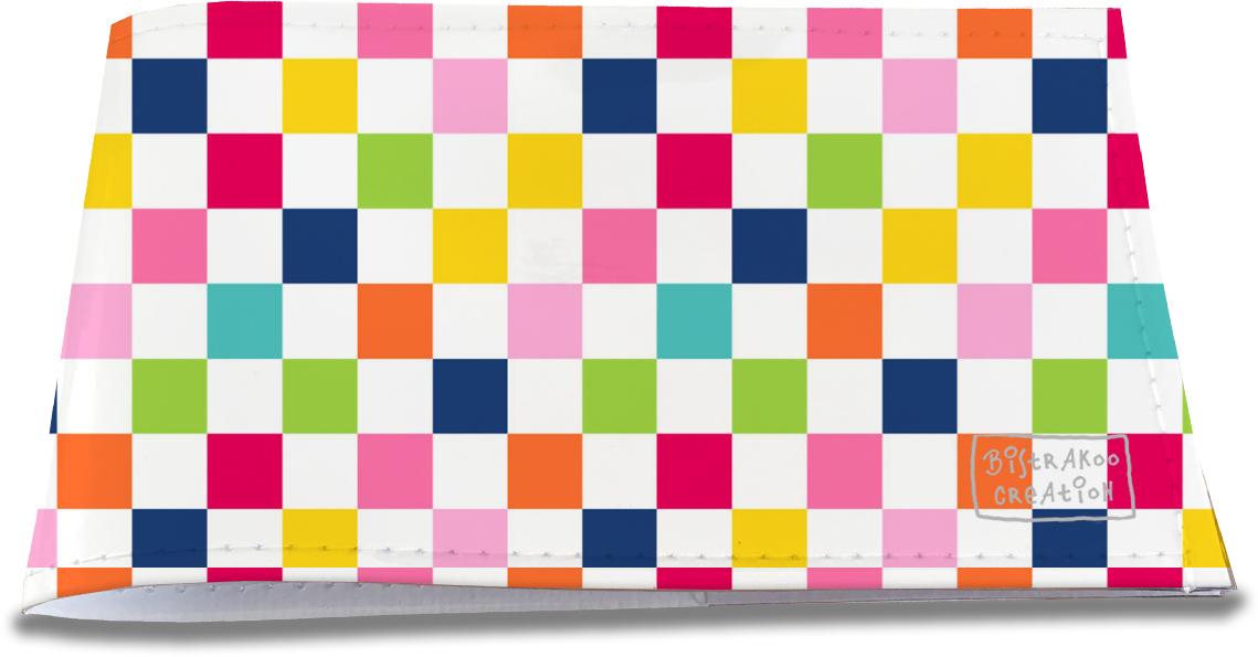 Porte-chéquier restaurant pour femme motif damier multicolore 3079-2017