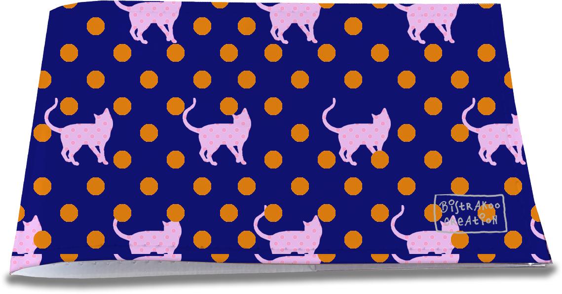 Porte-chéquier restaurant pour femme motif pois orange et chats roses 1312
