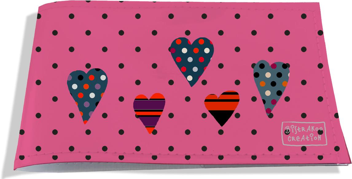 Porte-chéquier restaurant pour femme motif Saint-Valentin pour elle Motif coeurs multicolores rose 1854-2014