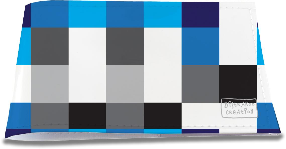 Porte-chéquier restaurant pour homme motif classique bleu noir 2117-2015