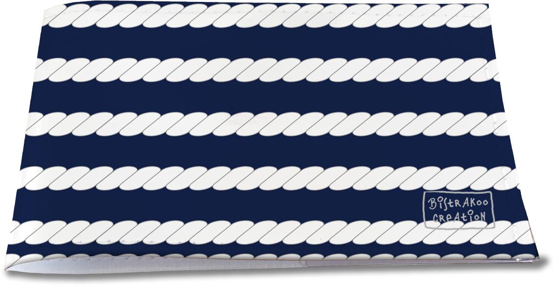 Porte-chéquier restaurant pour homme motif classique Cordes fond bleu marine PCR2107