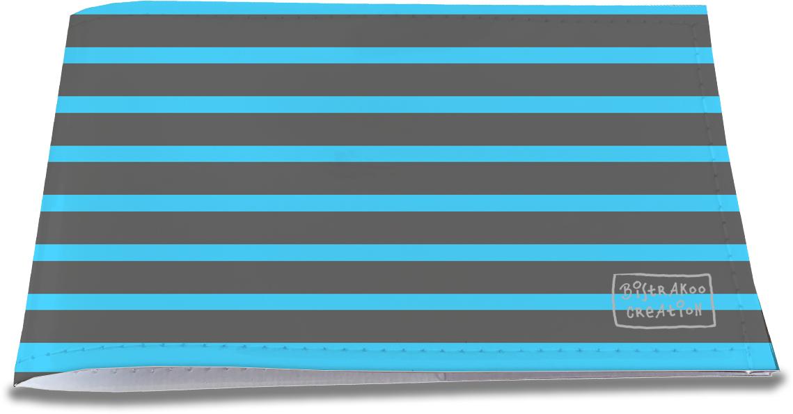 Porte-chéquier restaurant pour homme motif classique Marinière bleue et grise PCR2171