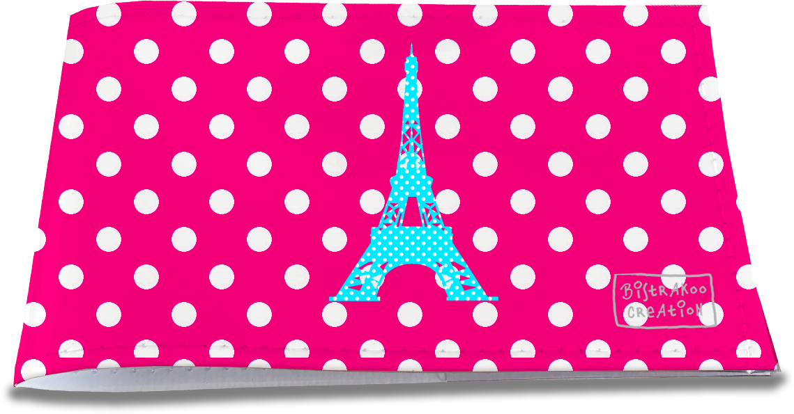 Porte-chéquier restaurant pour femme motif Tour Eiffel bleue fond fushia pois blancs 1414