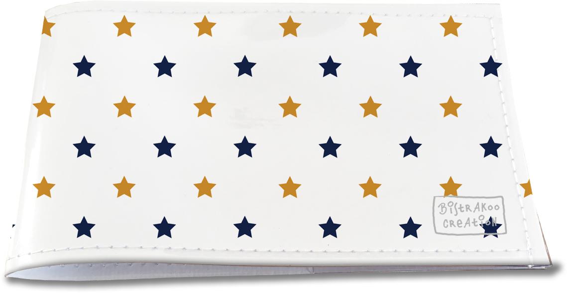 Porte-chéquier restaurant pour homme motif classique étoiles bleu et or PCR2101