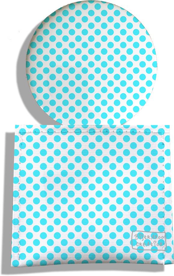 Miroir de Poche avec étui, Miroir de Maquillage motif Pois bleus 714