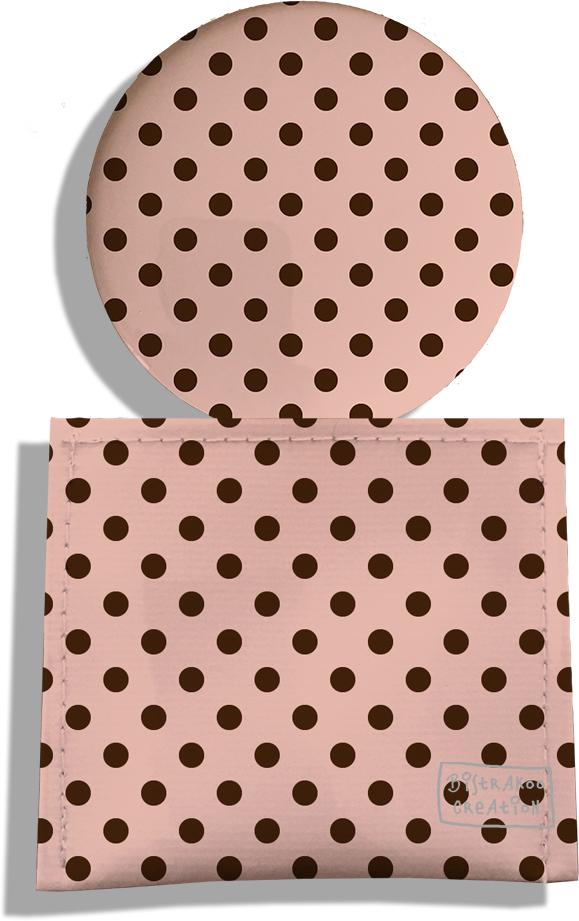 Miroir de Poche avec étui, Miroir de Maquillage motif Pois marrons fond crème 2059