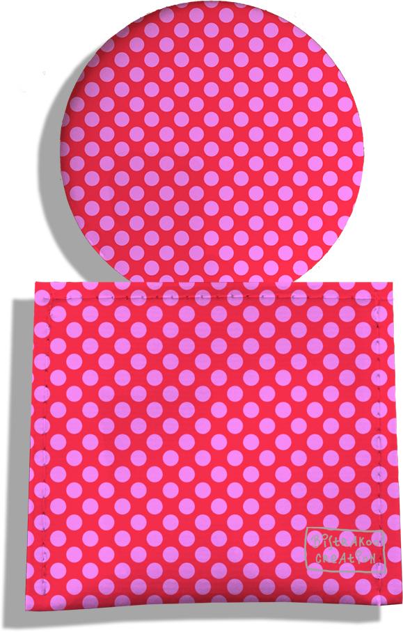 Miroir de Poche avec étui, Miroir de Maquillage motif Pois roses fond fushia 715