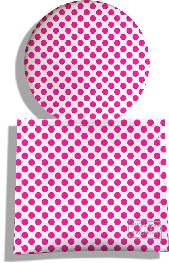 Miroir de Poche avec étui, Miroir de Maquillage motif Pois roses 716