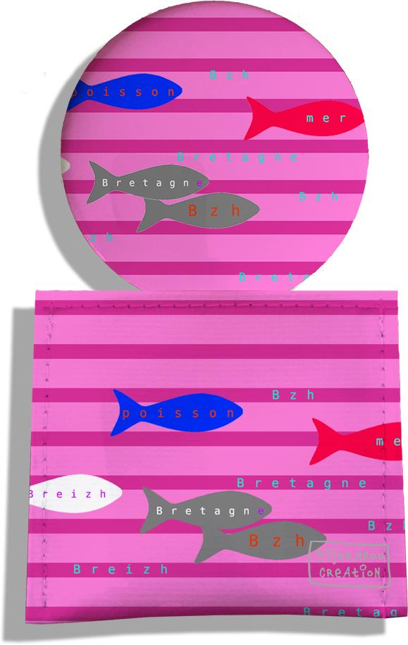 Miroir de Poche avec étui, Miroir de Maquillage motif Poissons multicolores fond marinière 2043