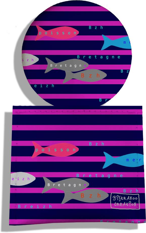 Miroir de Poche avec étui, Miroir de Maquillage motif Poissons multicolores fond marinière 2045