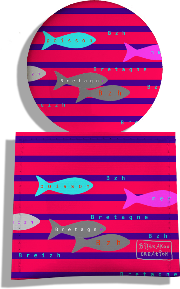Miroir de Poche avec étui, Miroir de Maquillage motif Poissons multicolores Marinière bleue et rouge 2042