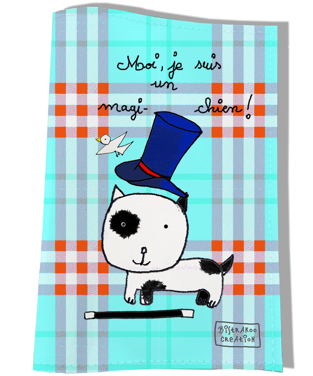 Protège carnet de santé pour chien motif Moi je suis un magi chien