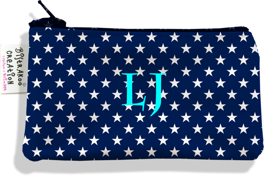 Porte-monnaie personnalisé femme motif Etoiles blanches fond bleu marine P2088
