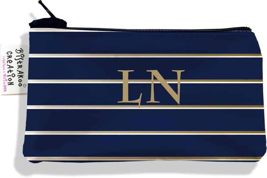 Porte-monnaie personnalisé homme motif Lignes or et blanches fond bleu marine P2100