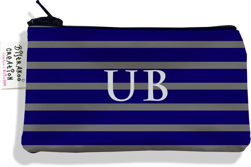Porte-monnaie personnalisé homme motif Marinière bleu marine et grise P2174