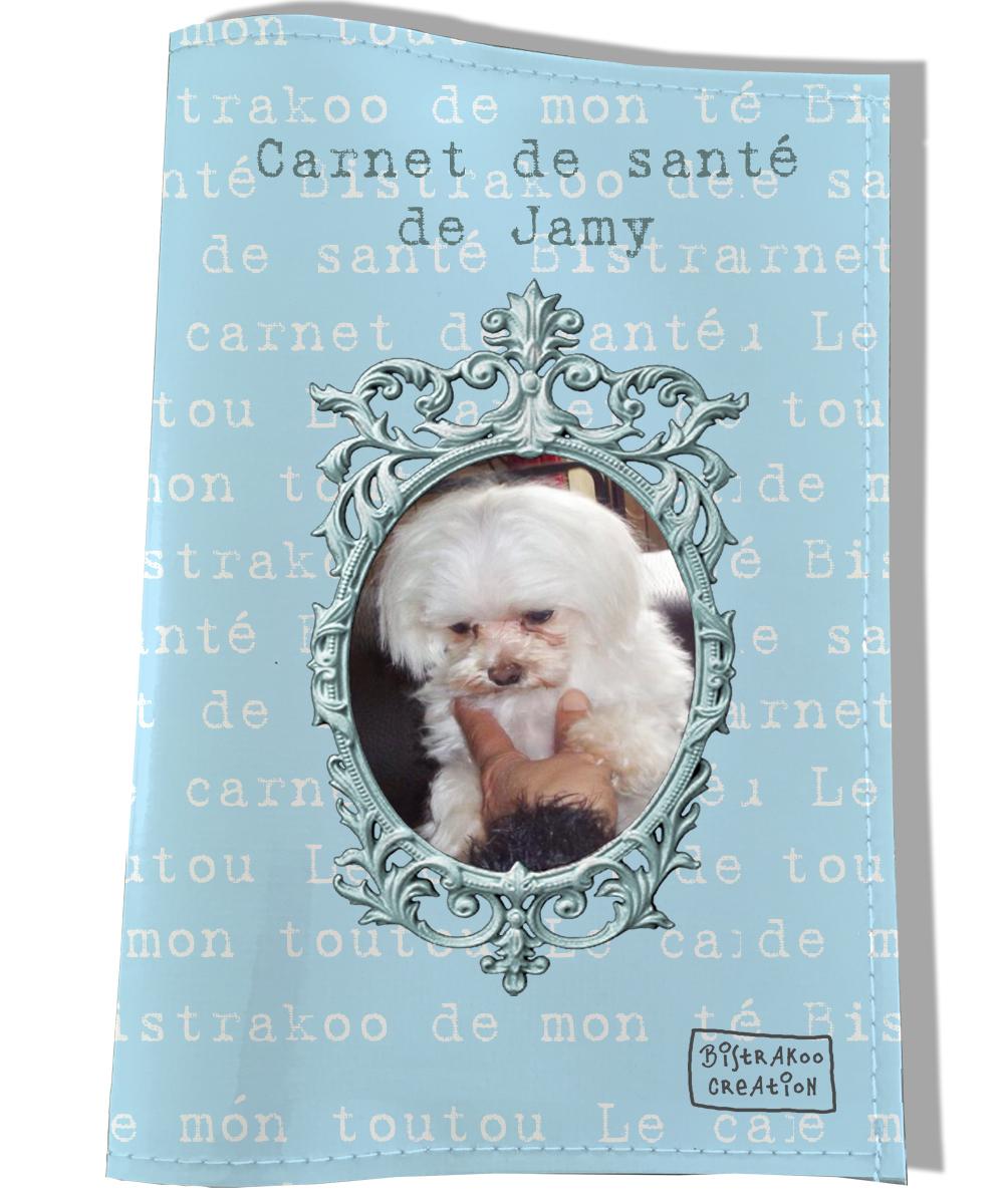 Protège carnet de santé personnalisé pour chien Bleu clair