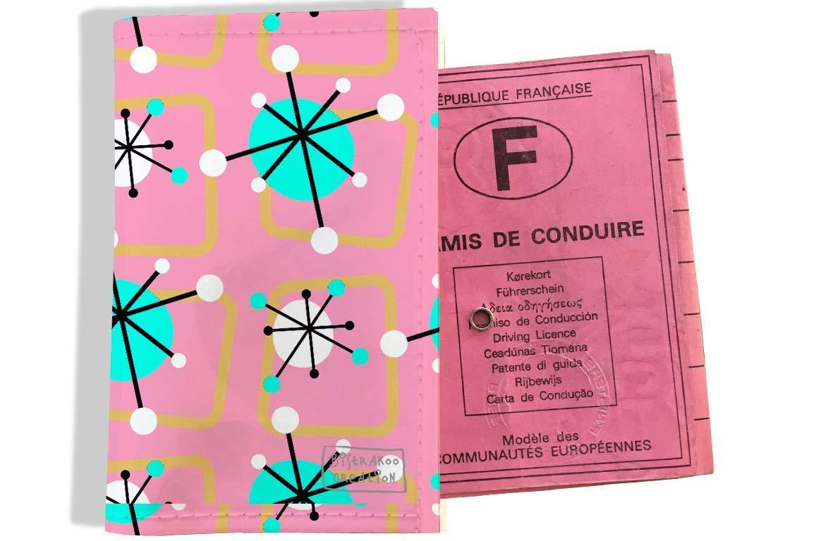 Protège permis de conduire pour femme motif Atomic multicolore fond rose 3200