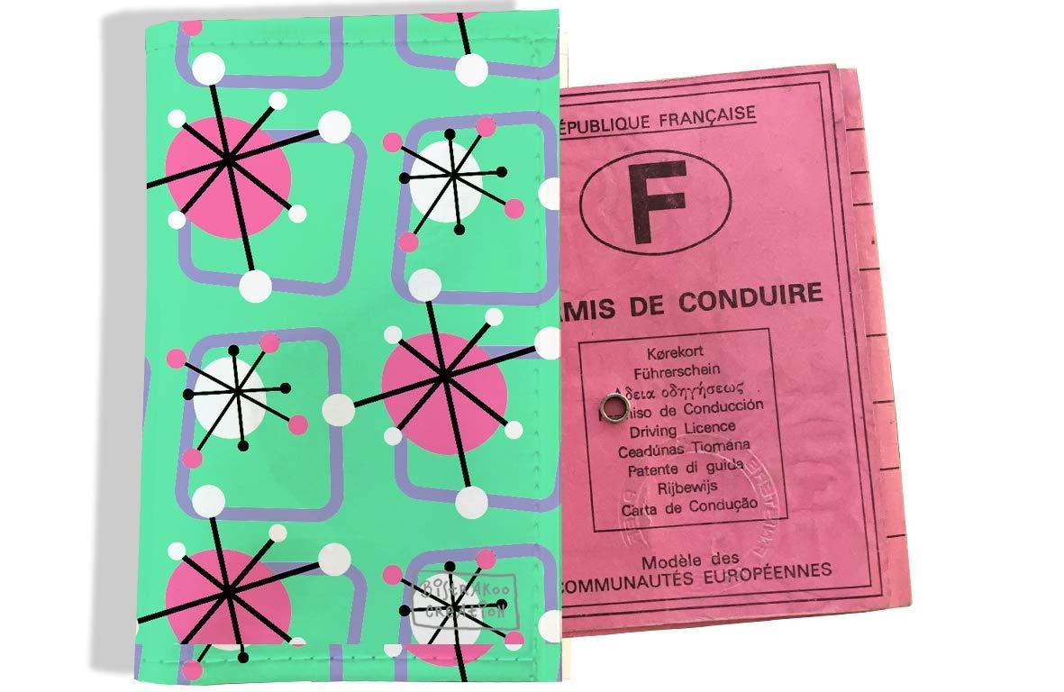 Protège permis de conduire pour femme motif Atomic multicolore fond vert 3202