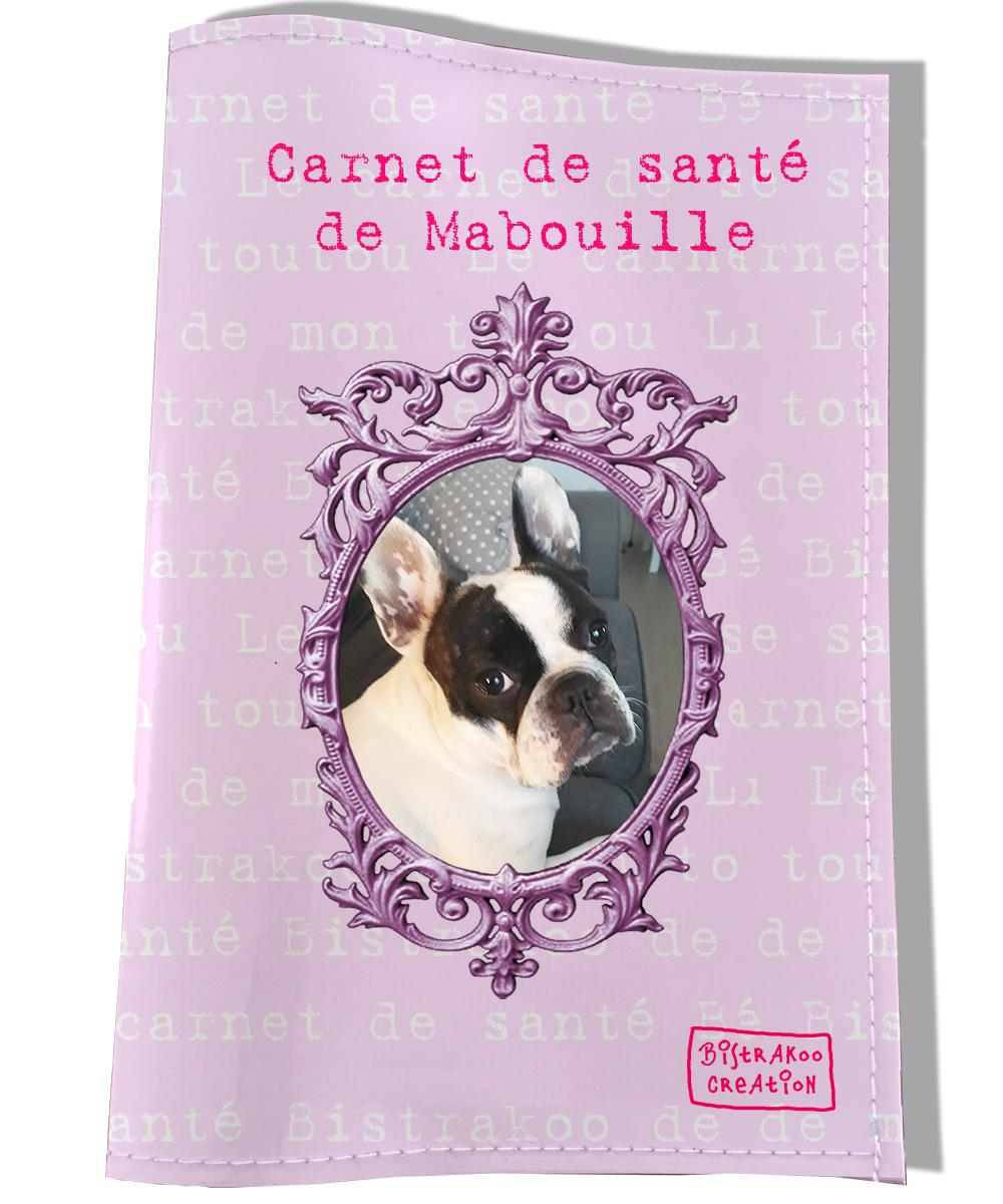 Protège carnet de santé personnalisé pour chien Rose