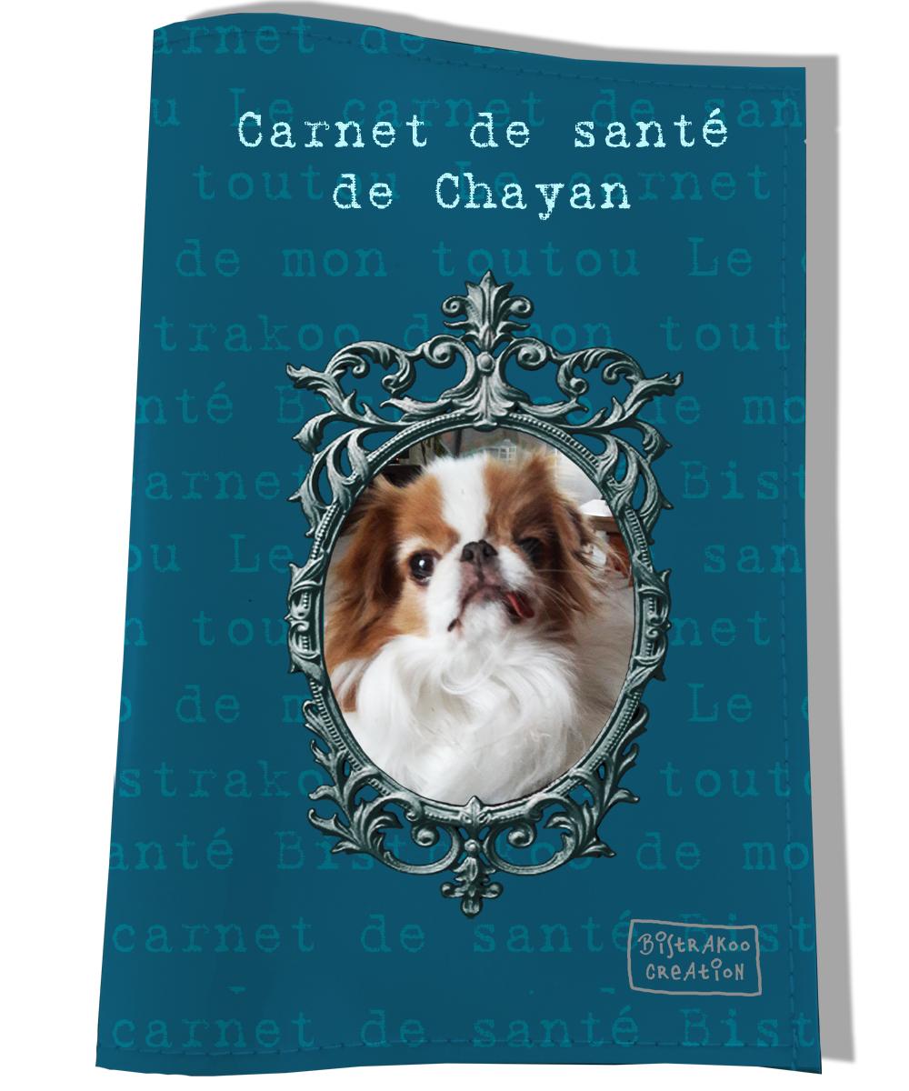 Protège carnet de santé personnalisé pour chien Bleu