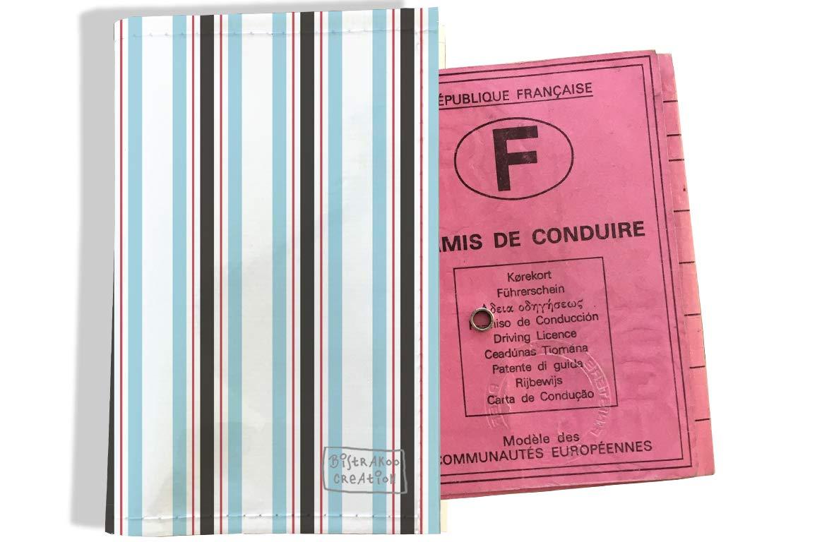 Protège permis de conduire pour homme motif Bayadère bleu rose gris 2145