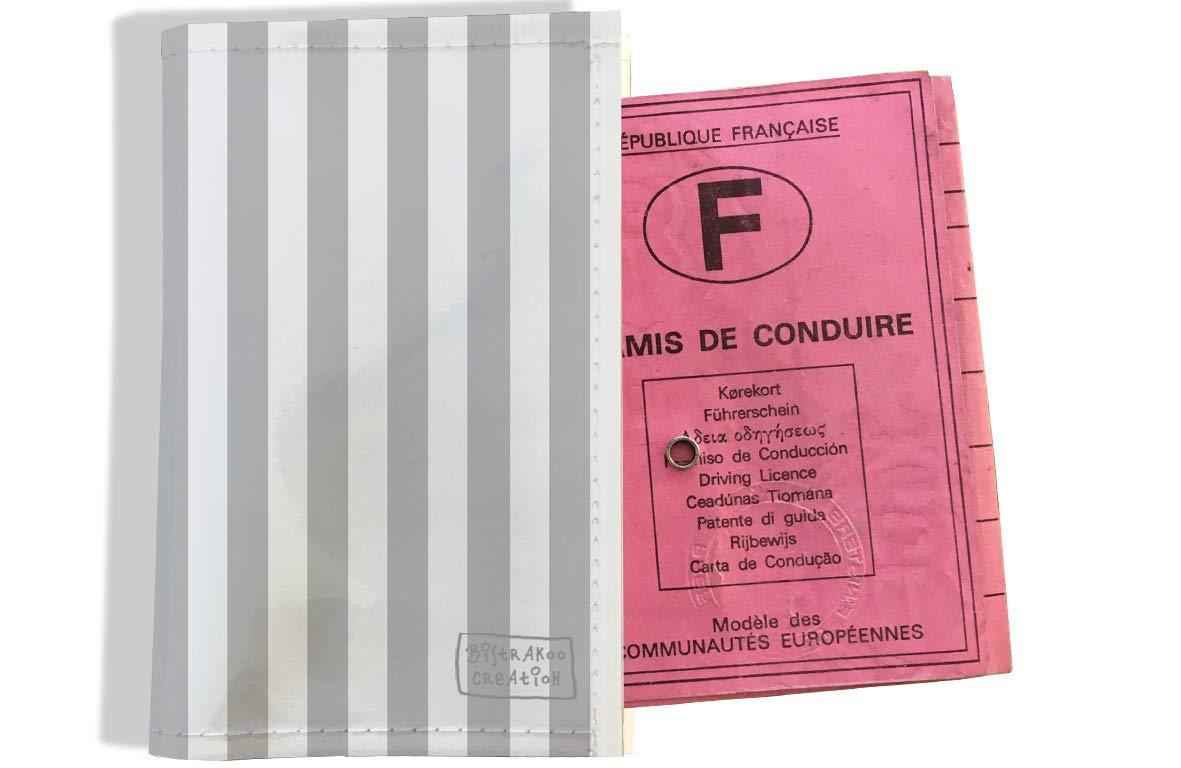 Protège permis de conduire pour homme motif Bayadère gris 1742