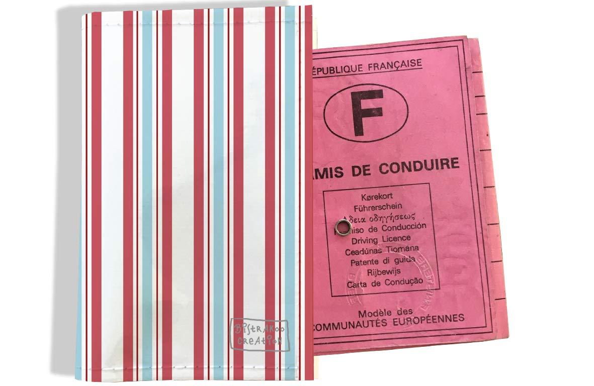 Protège permis de conduire pour homme motif Bayadère rose et bleu 2144
