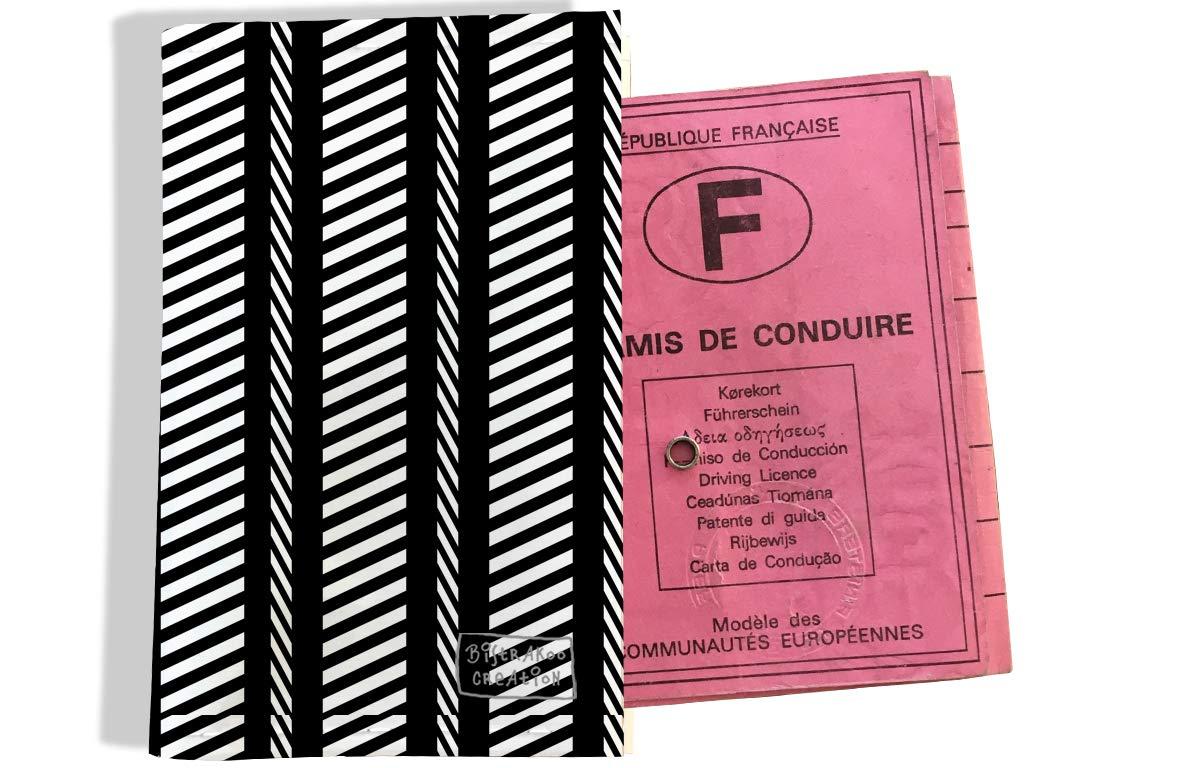 Protège permis de conduire pour homme motif Chevrons blancs fond noir 2153