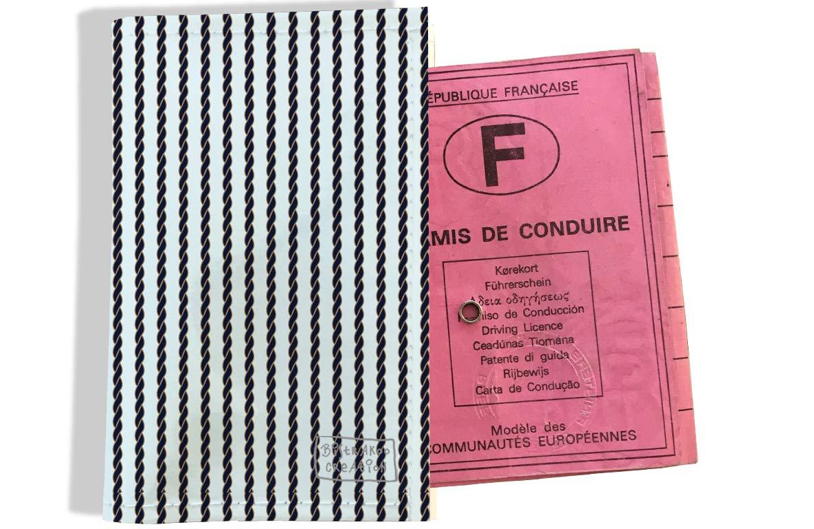 Protège permis de conduire pour homme motif Cordage bleu marine 2139