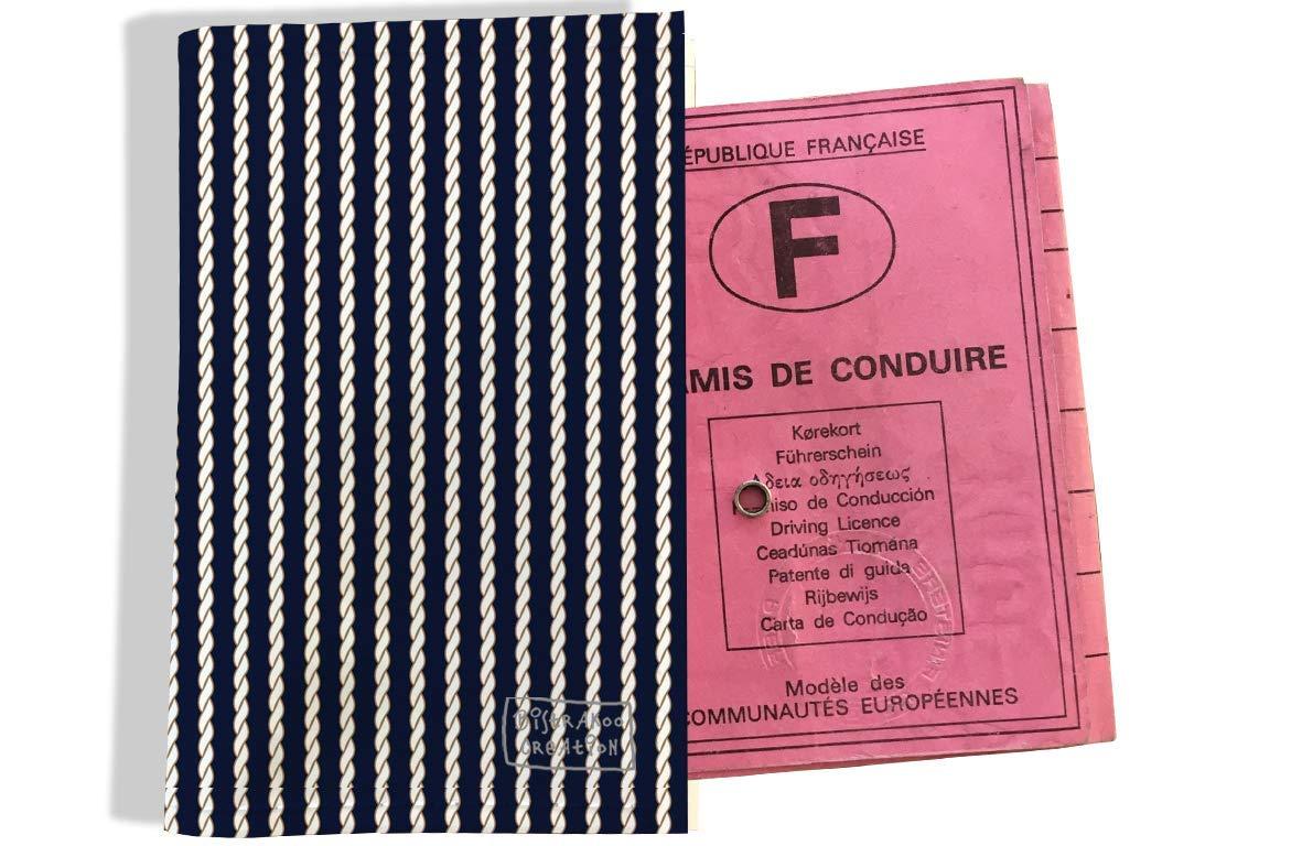 Protège permis de conduire pour homme motif Cordes fond bleu marine 2133