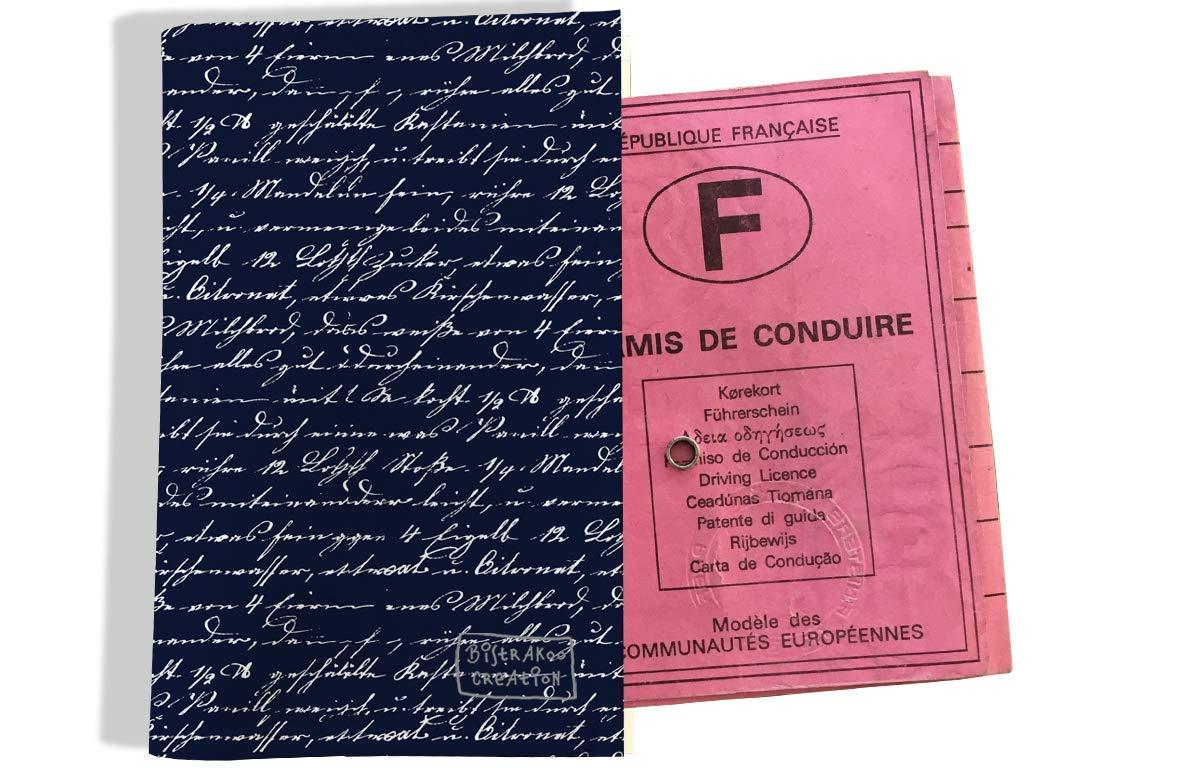 Protège permis de conduire pour homme motif Ecriture blanche fond bleu marine 2135