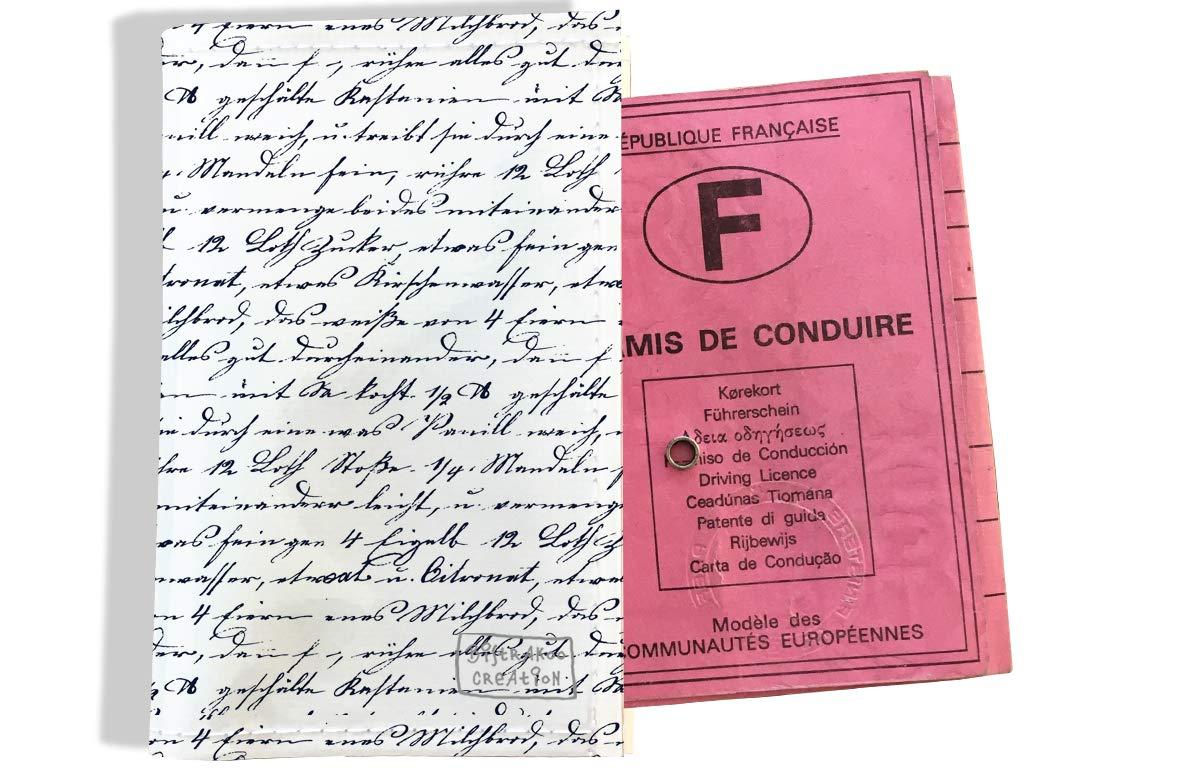 Protège permis de conduire pour homme motif Ecriture bleue marine 2141