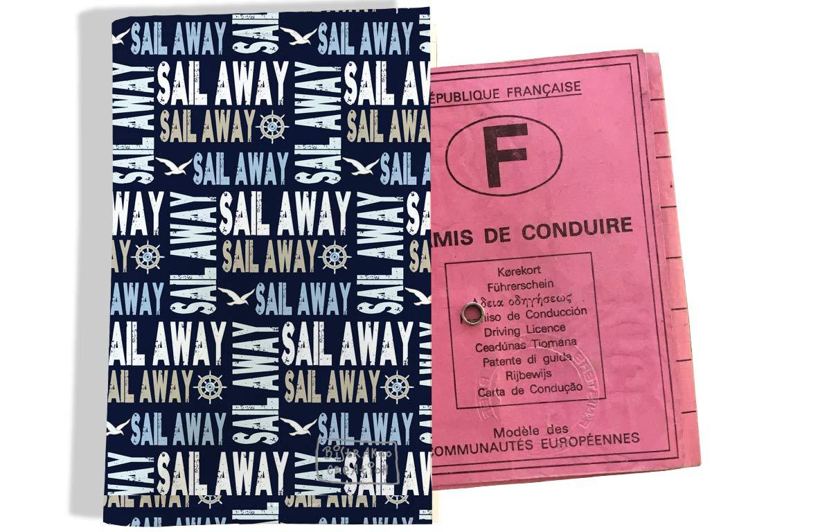 Protège permis de conduire pour homme motif écritures Sail away fond bleu marine 2142