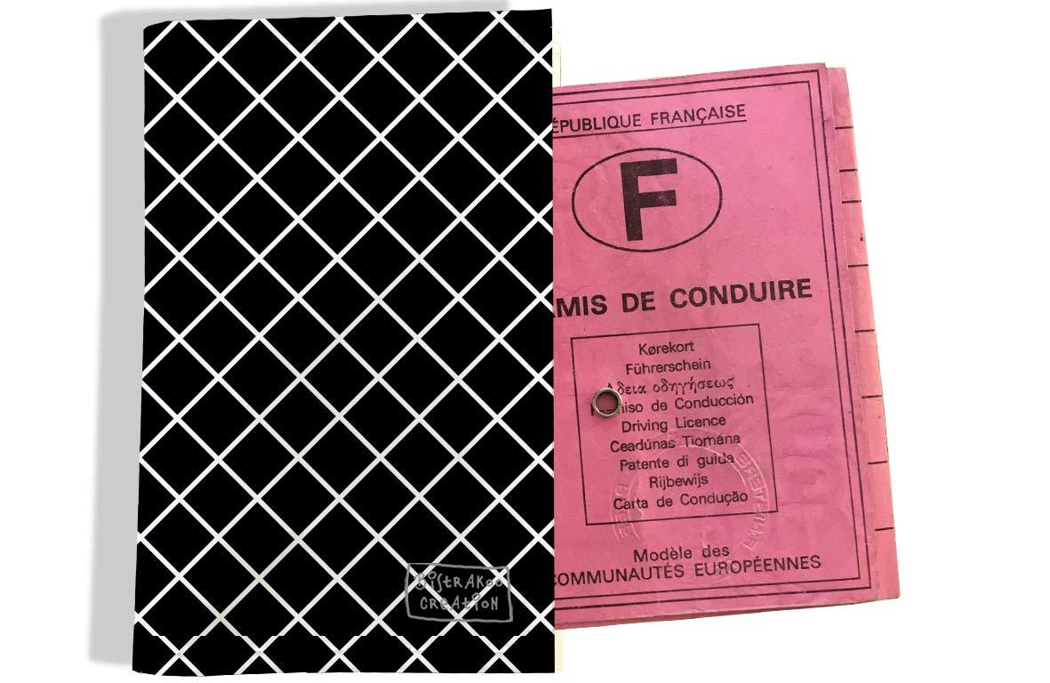 Protège permis de conduire pour homme motif Grillage blanc fond noir 2507