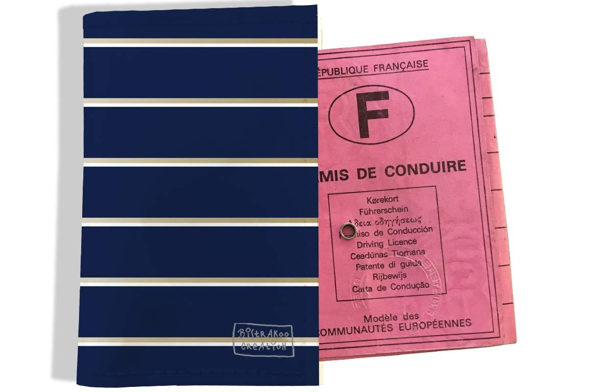 Protège permis de conduire pour homme motif Lignes horizontales fond bleu marine 2100