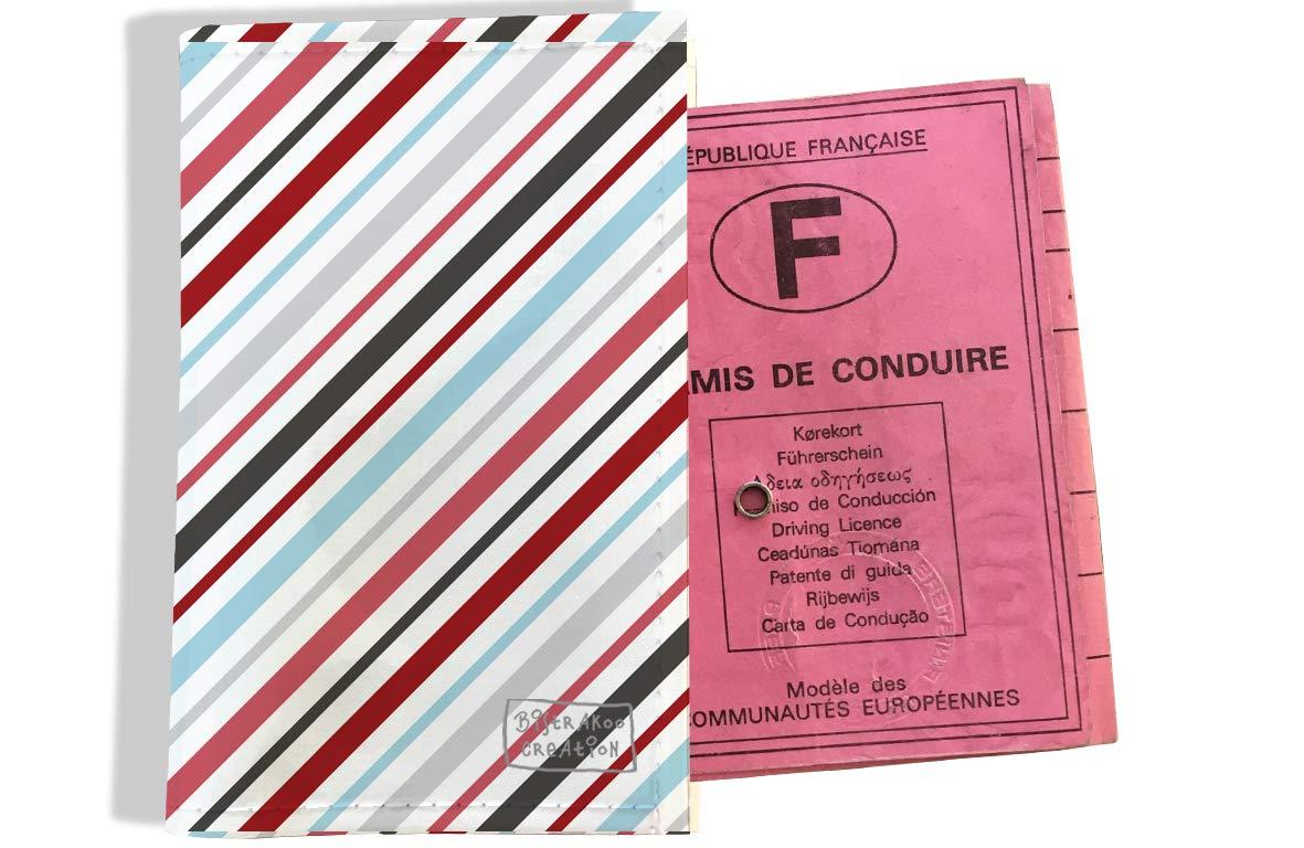 Protège permis de conduire pour homme motif Lignes transversales multicolores 2146