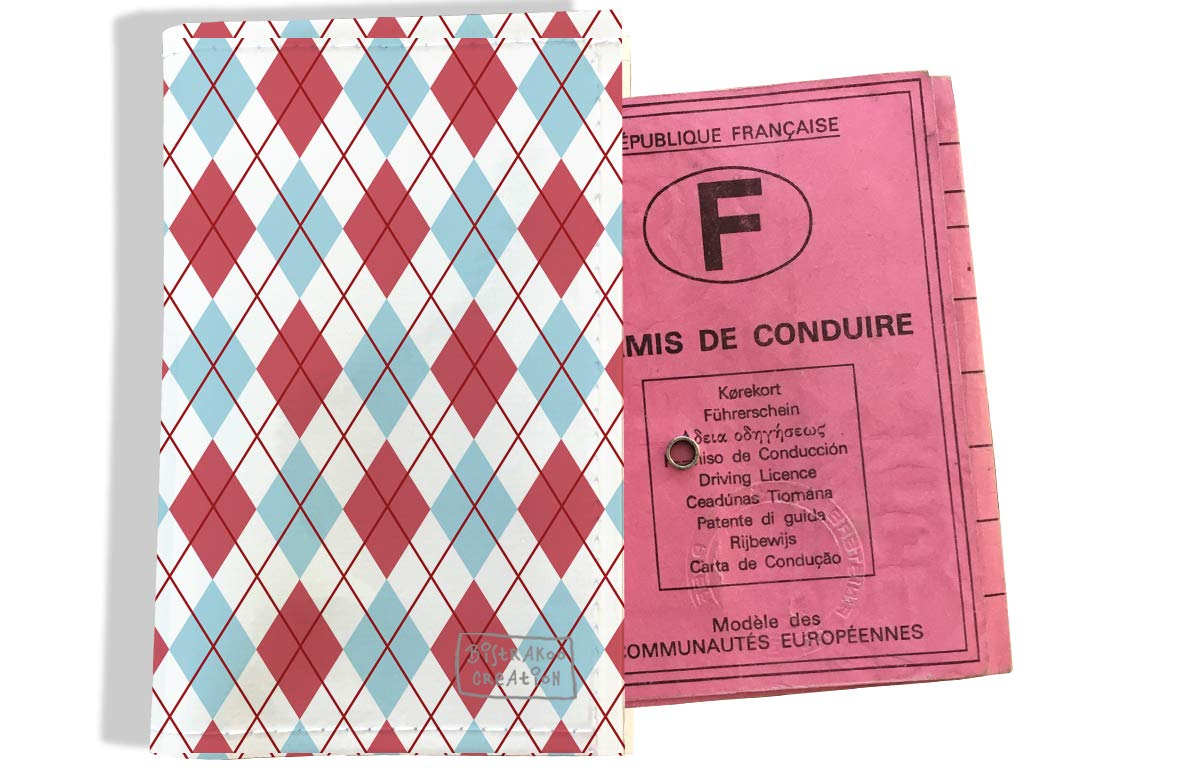 Protège permis de conduire pour homme motif Losanges roses et bleus 2147