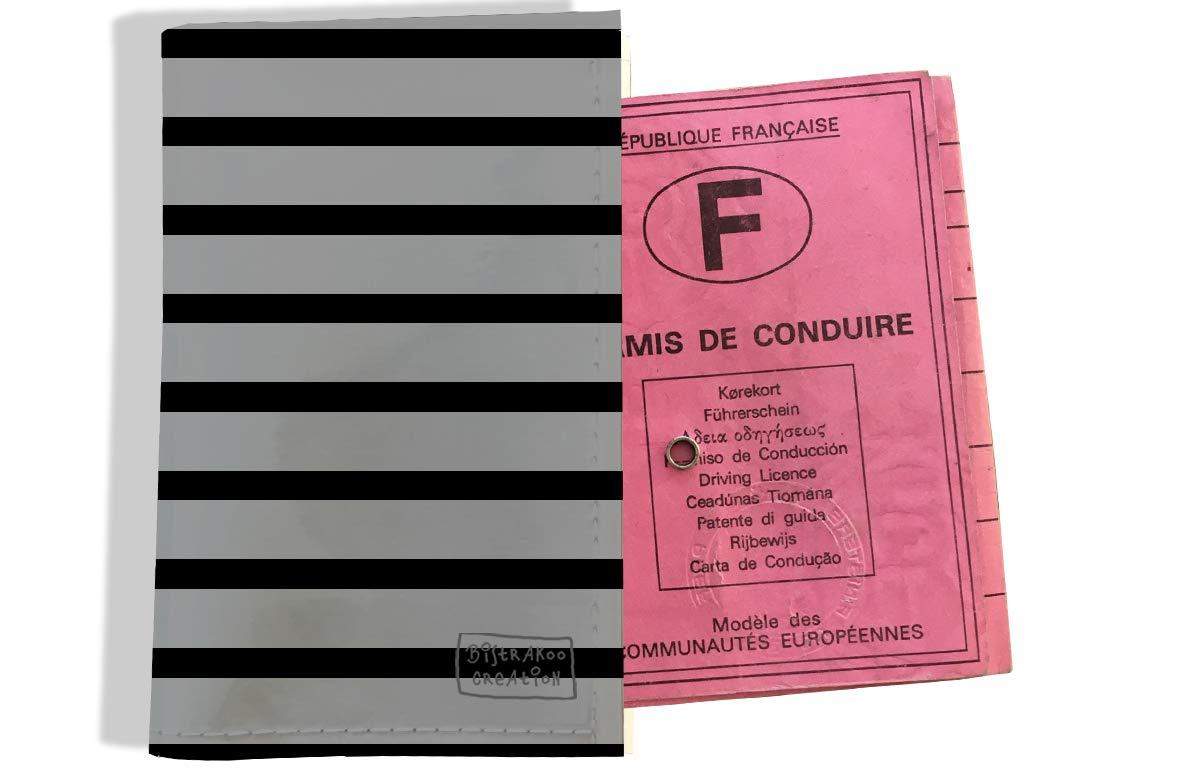 Protège permis de conduire pour homme motif Marinière noire et grise 2173