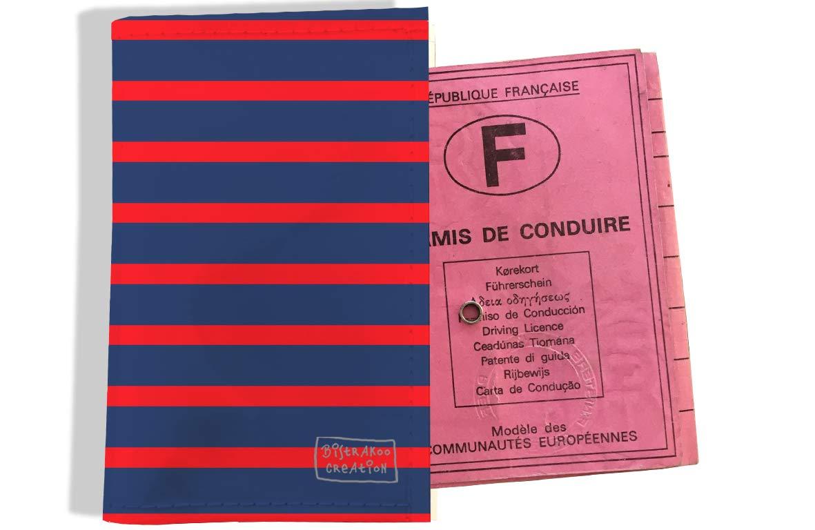 Protège permis de conduire pour homme motif Marinière rouge et bleu marine 2170