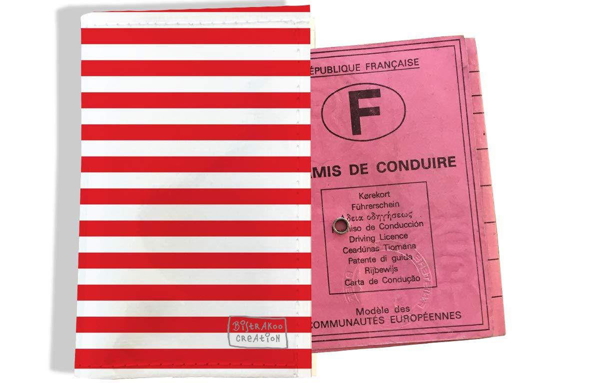 Protège permis de conduire pour homme motif Marinière rouge 2124