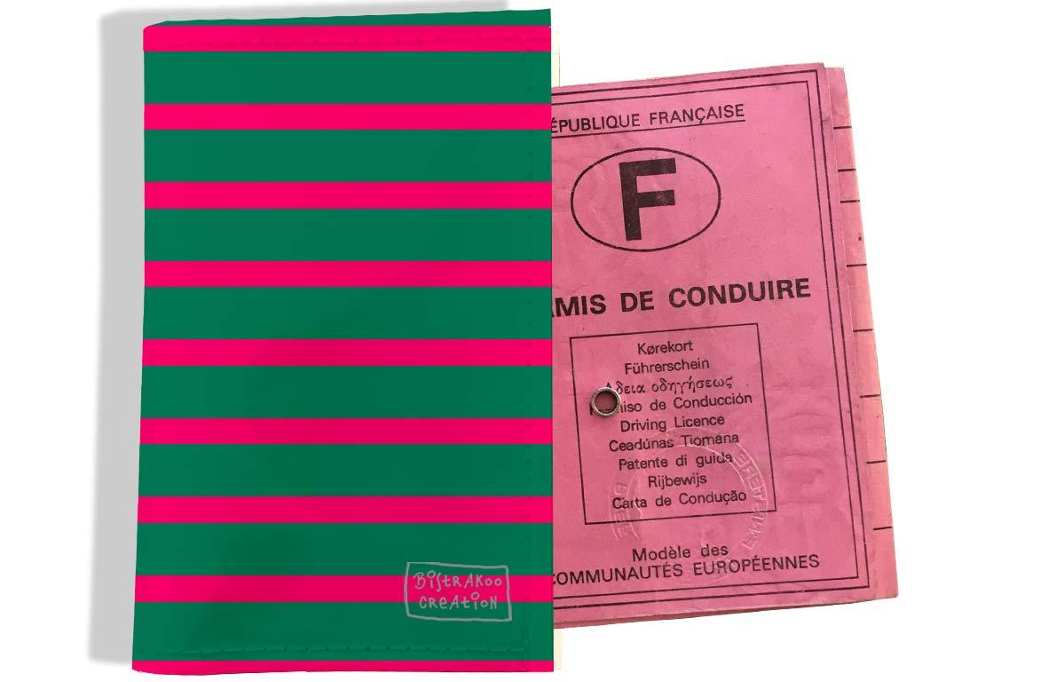 Protège permis de conduire pour homme motif Marinière verte et rose 2168