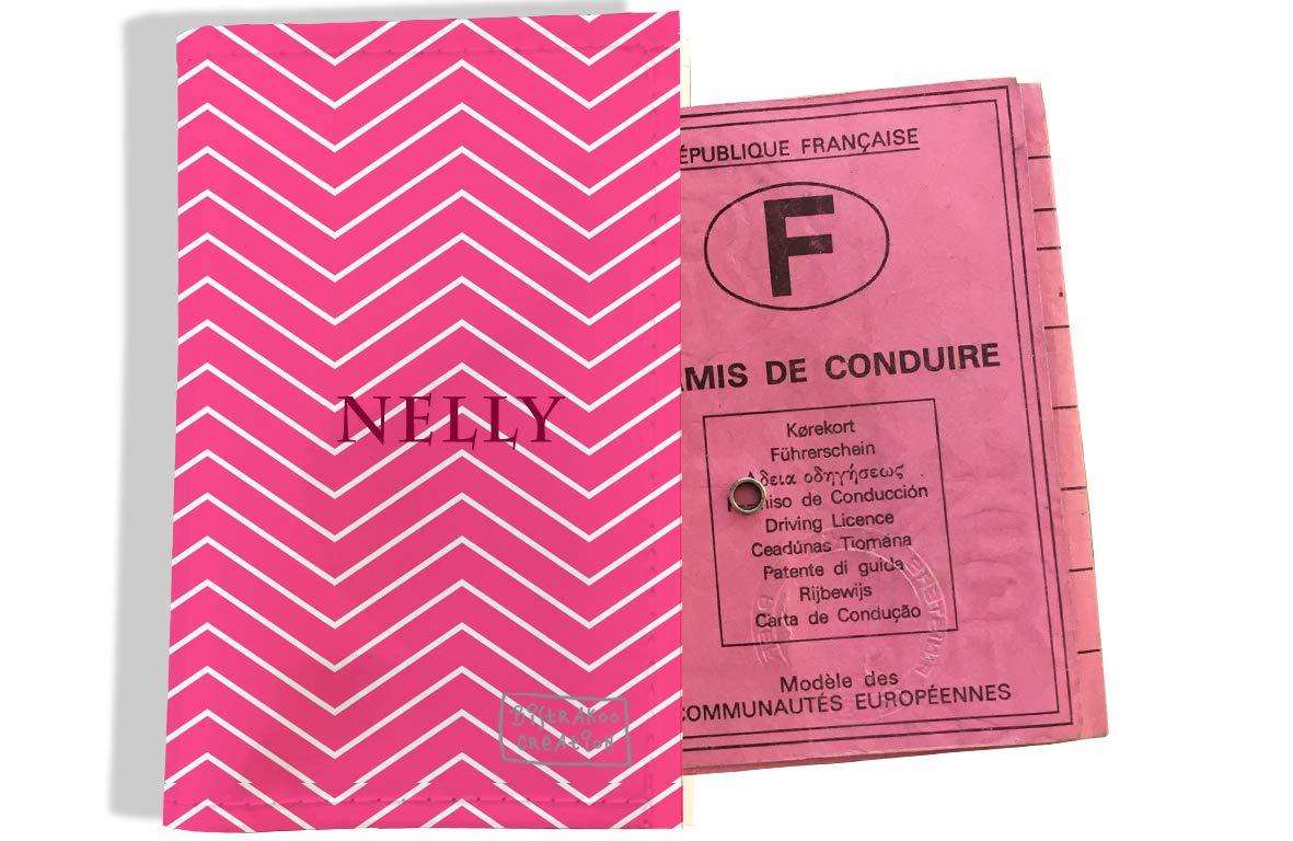 Protège permis de conduire personnalisé pour femme motif Chevrons blancs fond rose P2086