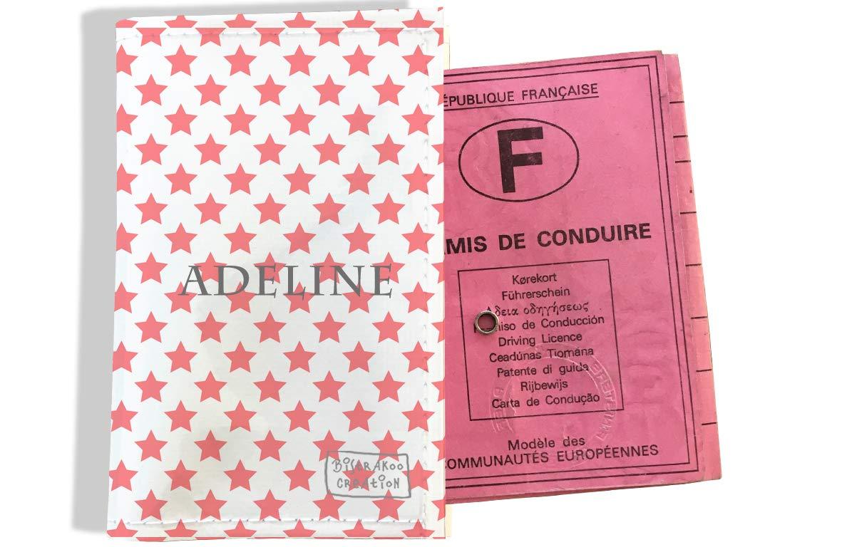 Protège permis de conduire personnalisé pour femme motif Etoiles roses P2089