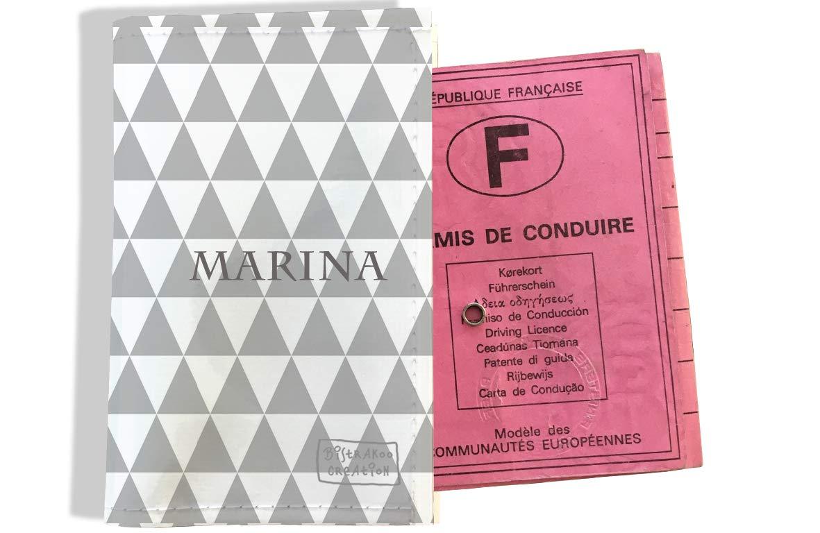 Protège permis de conduire personnalisé pour femme motif Losanges graphiques gris P2082