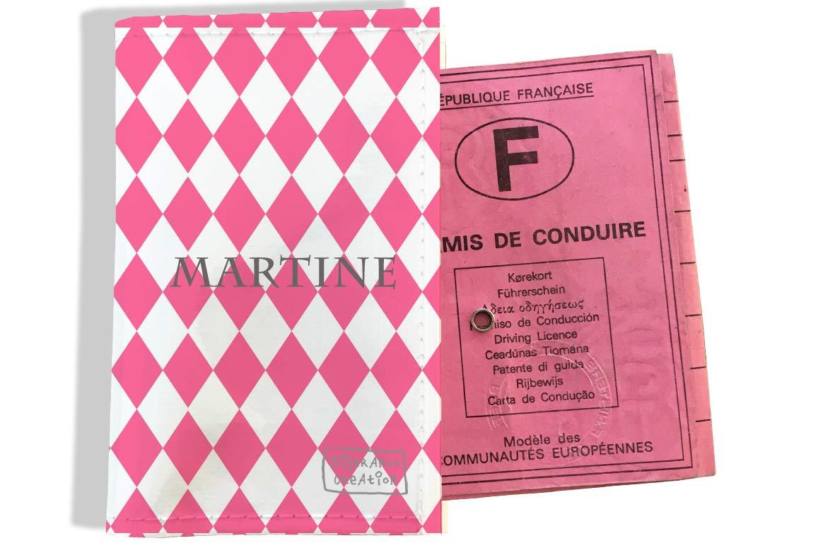 Protège permis de conduire personnalisé pour femme motif Losanges graphiques roses P2076