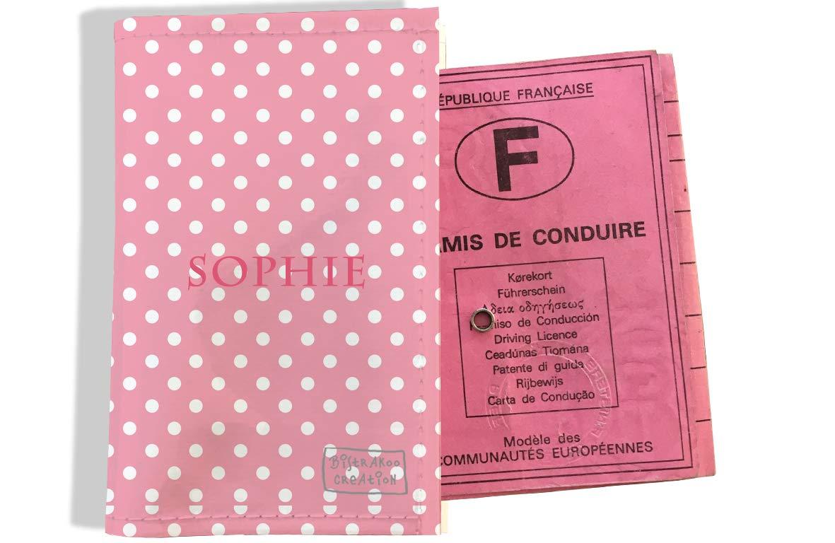 Protège permis de conduire personnalisé pour femme motif Petits Pois blancs fond rose P2060