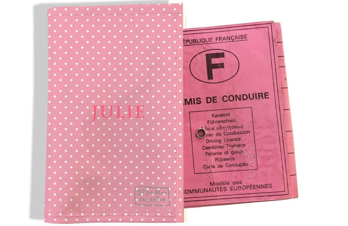 Protège permis de conduire personnalisé pour femme motif Petits Pois blancs fond rose P2062
