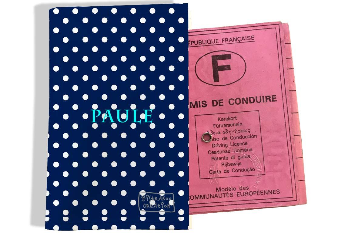 Protège permis de conduire personnalisé pour femme motif Pois blancs fond bleu marine P2064
